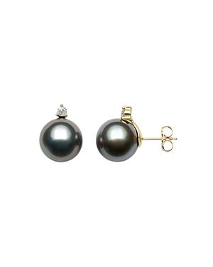 Bloomingdale's Tahitian Black Pearl & Diamond Stud Earrings in 14K Yellow Gold - 100% Exclusive
