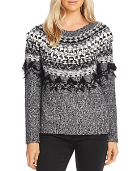 VINCE CAMUTO - Fringed Fair Isle Sweater