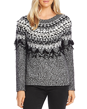 Vince Camuto Sweaters FRINGED FAIR ISLE SWEATER