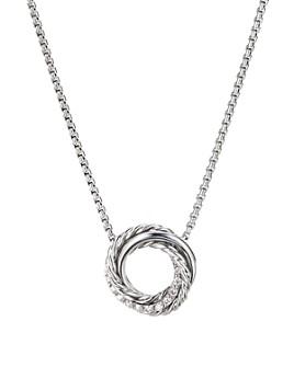 "David Yurman - Sterling Silver Crossover Mini Pendant Necklace with Diamonds, 17"""