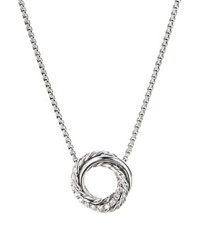 David Yurman - Sterling Silver Crossover Mini Pendant Necklace with Diamonds, 17""
