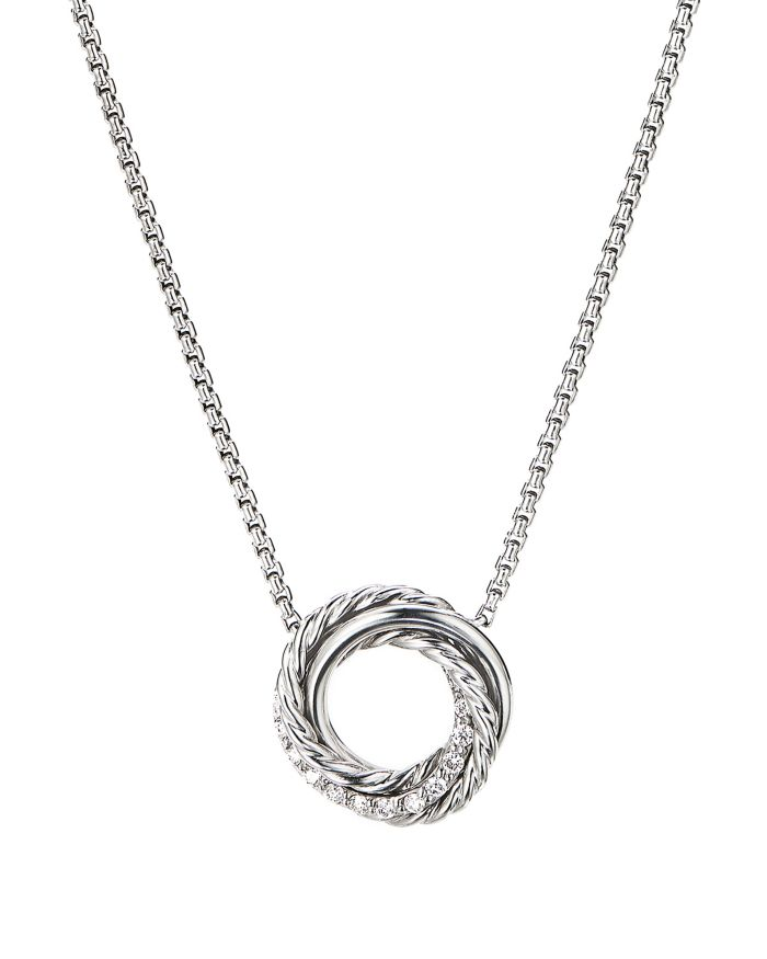 """David Yurman Sterling Silver Crossover Mini Pendant Necklace with Diamonds, 17""""  