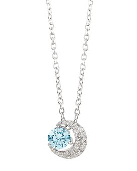 """Lightbox Jewelry - Blue Moon Lab-Grown Diamond Pendant Necklace in Sterling Silver, 18"""""""