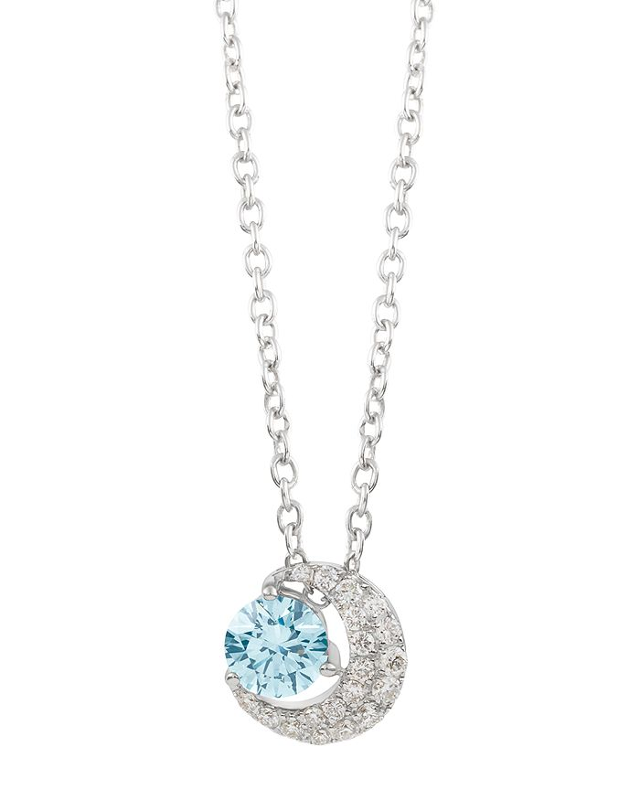 Lightbox Jewelry Blue Moon Lab-grown Diamond Pendant Necklace In Sterling Silver, 18 In Blue/silver