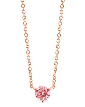 """Lightbox Jewelry - Solitaire Lab-Grown Diamond Pendant Necklace in Rose Gold-Plated Sterling Silver, 18"""""""