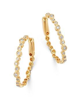 Bloomingdale's - Bezel-Set Diamond Oval Hoop Earrings in 14K Yellow Gold, 0.35 ct. t.w. - 100% Exclusive