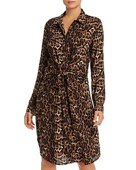 BeachLunchLounge - Leopard-Print Tie-Front Shirt Dress