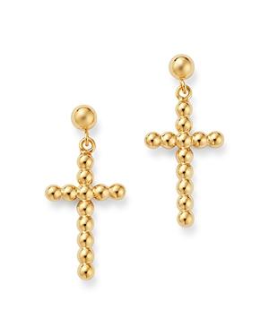 Bloomingdale's Beaded Cross Drop Earrings in 14K Yellow Gold - 100% Exclusive