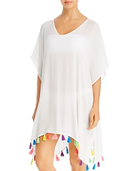 Echo - Solid Tassel Caftan Swim Cover-Up