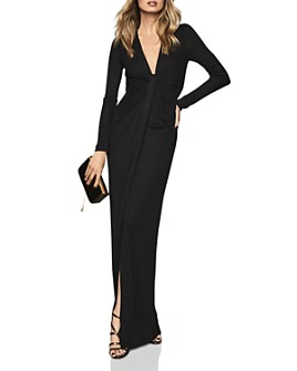 REISS - Harlyn Plunging Jersey Maxi Dress