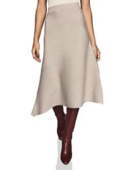 REISS - Leonora Ribbed Knit Asymmetric Midi Skirt
