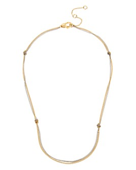 """ALLSAINTS - Two-Tone Knotted Double-Strand Delicate Chain Necklace, 15"""""""