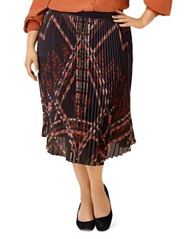 Maree Pour Toi Plus - Printed Pleated Midi Skirt