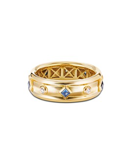 David Yurman - 18K Yellow Gold Modern Renaissance Ring with Diamonds & Blue Sapphires