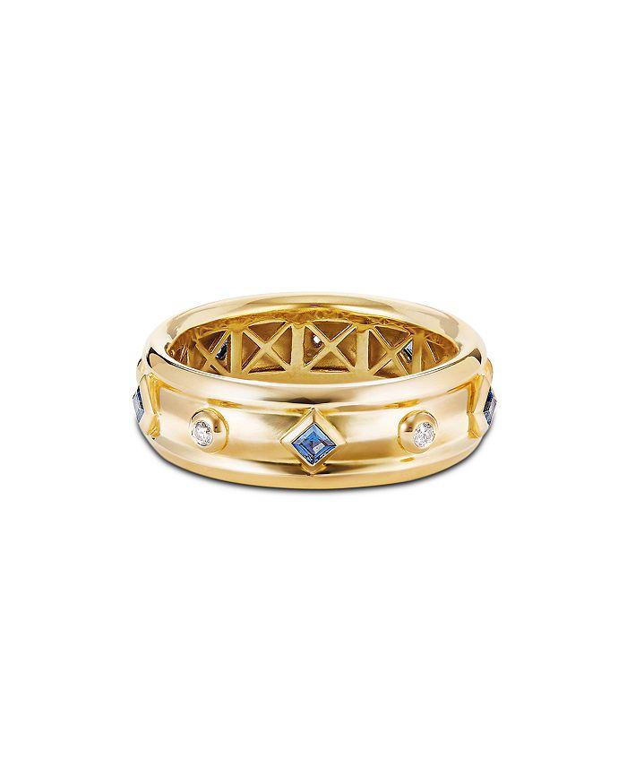David Yurman - 18K Yellow Gold Modern Renaissance Ring with Diamonds & Blue Sapphires