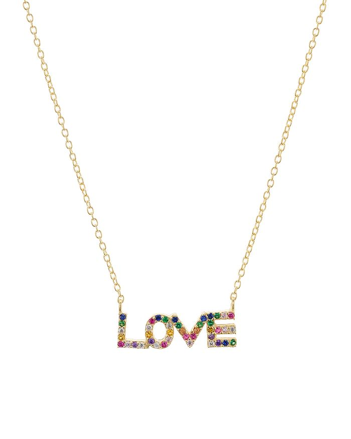 """AQUA - Love Pendant Necklace in Gold-Plated Sterling Silver, 16""""-18"""" - 100% Exclusive"""
