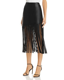 BAGATELLE.NYC - Fringed Faux Leather Midi Skirt