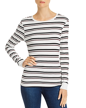 Frame Knits '70S LONG-SLEEVE STRIPED RIB-KNIT TEE