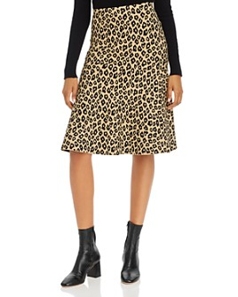 Theory - Glosse Leopard-Printed Skirt