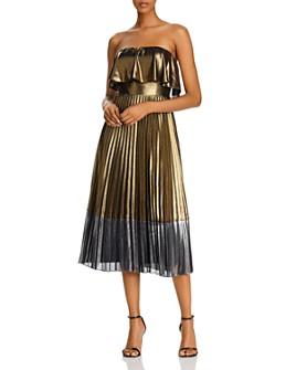 Aidan by Aidan Mattox - Metallic Pleated Midi Dress