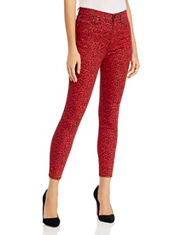Alice and Olivia - Good High-Rise Ankle Skinny Jeans in Mini Leopard Ruby/Black