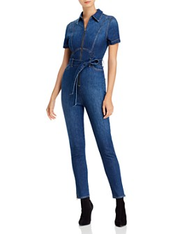 Alice and Olivia - Gorgeous Zip-Front Denim Jumpsuit