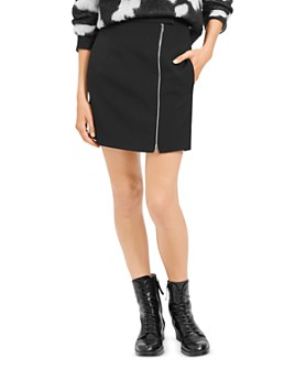 Theory - Asymmetric-Zip Wool-Stretch Mini Skirt