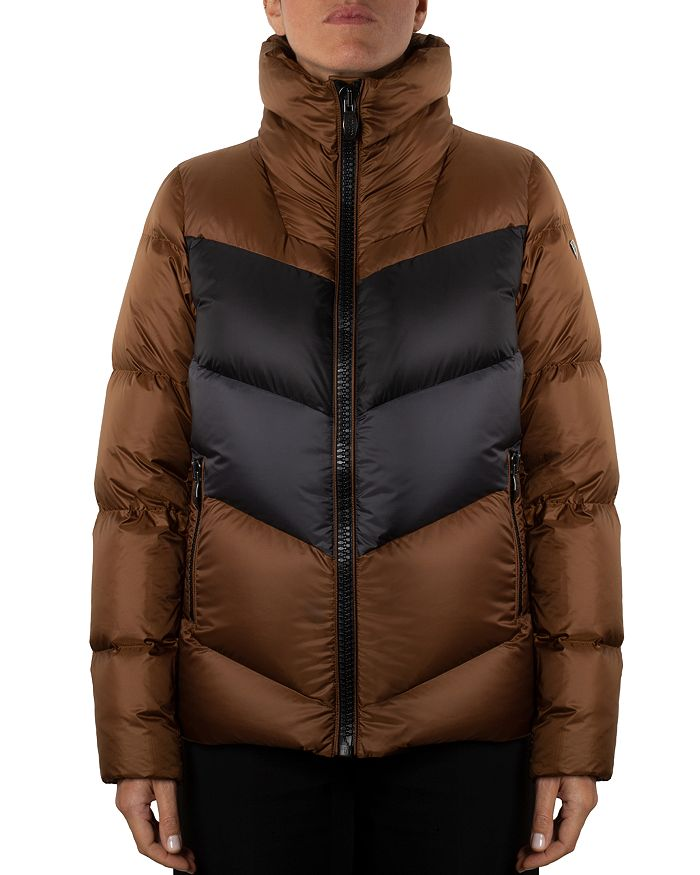 Post Card Color-blocked Down Coat In Black/taupe/gray