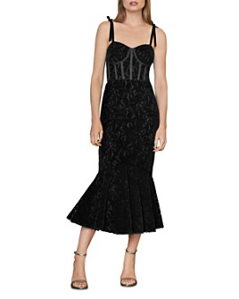 ML Monique Lhuillier - Velvet Lace Midi Dress
