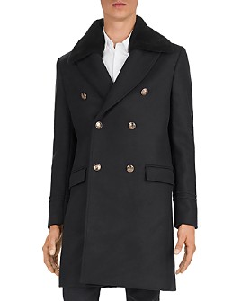 The Kooples - Heavy Mix Shearling Collar Coat