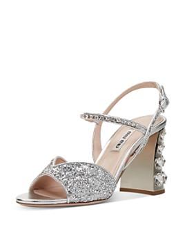Miu Miu - Women's Glitter Crystal-Embellished Block Heel Sandals