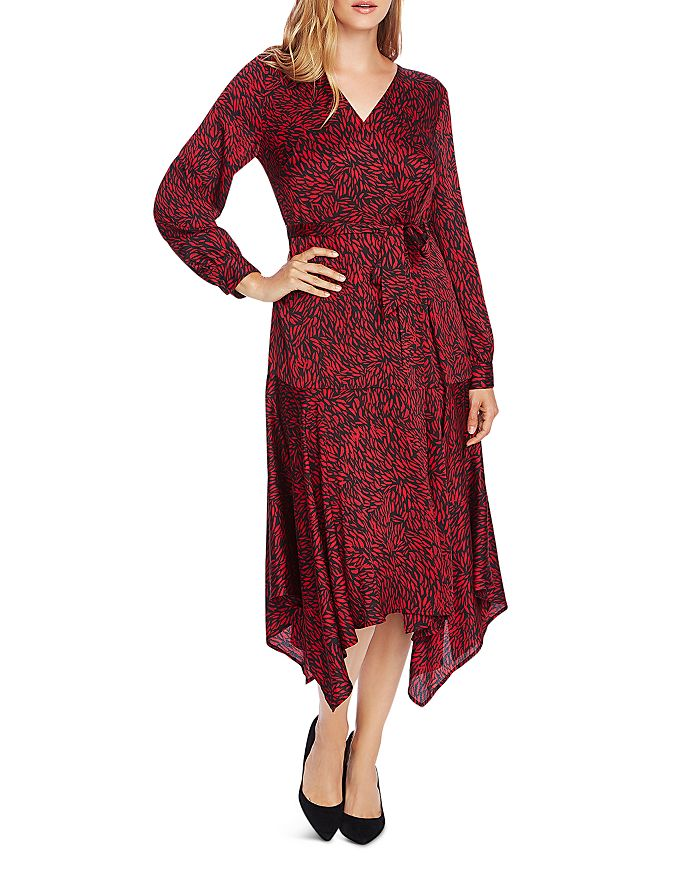 VINCE CAMUTO - Drifting Petals Belted Handkerchief-Hem Dress