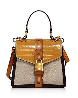 Chloé - Aby Small Canvas & Croc-Embossed Satchel