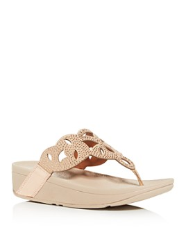 FitFlop - FitFlop Women's Elora Embellished Wedge Platform Thong Sandals