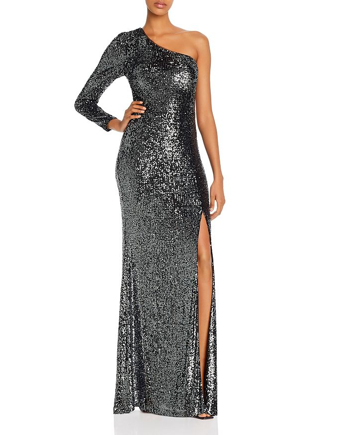 AQUA - One-Shoulder Sequined Gown - 100% Exclusive