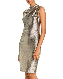 Black Halo - Corrine Metallic Cowl-Neck Sheath Dress