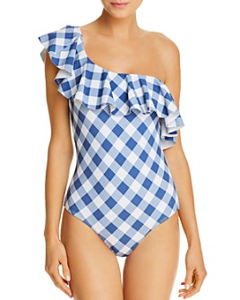 Shoshanna - Check One-Shoulder Ruffle One Piece Swimsuit