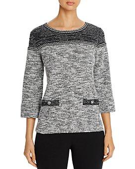 KARL LAGERFELD PARIS - Marled Contrast-Yoke Sweater