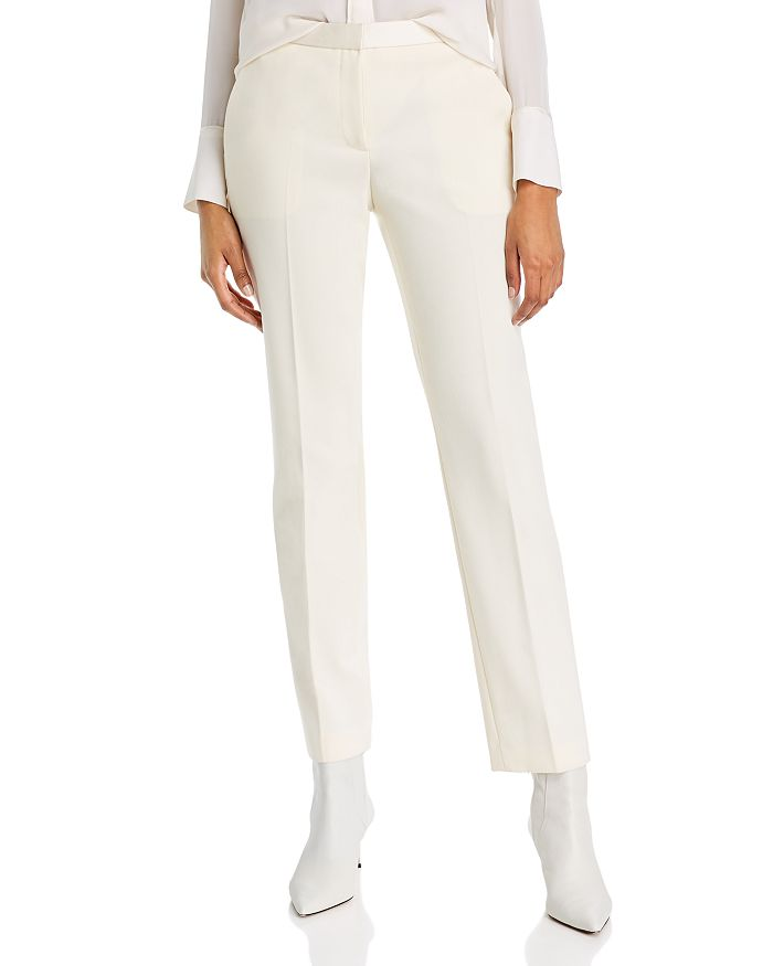 Theory Pants WOOL-BLEND SATIN DETAIL STRAIGHT PANTS