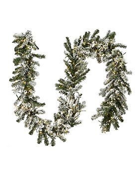 National Tree Company - 9 ft. Snowy Sheffield Spruce Garland with Clear Lights