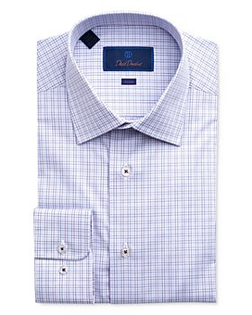 David Donahue - Windowpane Plaid Trim Fit Dress Shirt