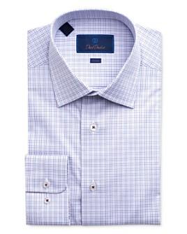 David Donahue - Windowpane Plaid Trim Fit Dress Shirt