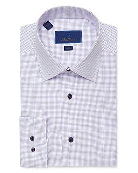 David Donahue - Micro Windowpane Trim Fit Dress Shirt