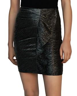 Maje - Junny Draped Metallic Mini Skirt
