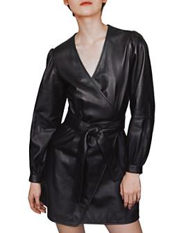 Maje - Rosetola Belted Leather Wrap Dress