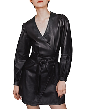 Maje Rosetola Belted Leather Wrap Dress