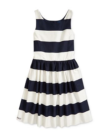 Ralph Lauren - Girls' Striped Fit-and-Flare Dress - Big Kid