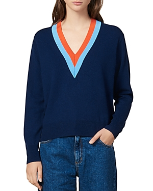 Sandro Sweaters VINCE STRIPED-INSET V-NECK SWEATER