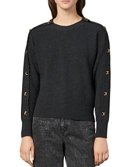 Sandro - Joly Metallic Appliqué Wool & Cashmere Sweater