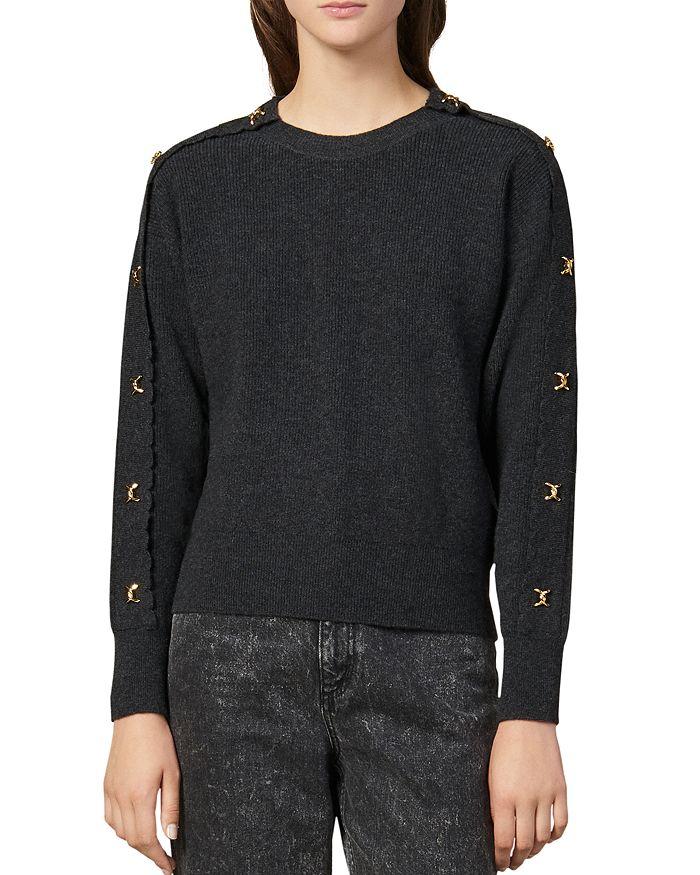 Sandro - Joly Metallic Appliqué Wool & Cashmere Sweater